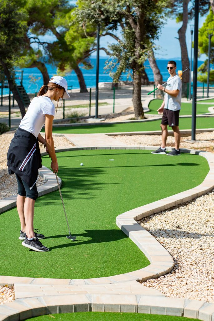 Playing a game of mini golf in Petrčane